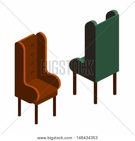 vector set of upholstered chair with a high back and armrests,upholstered chair for reading and relaxing. soft stool for a room in the isometric