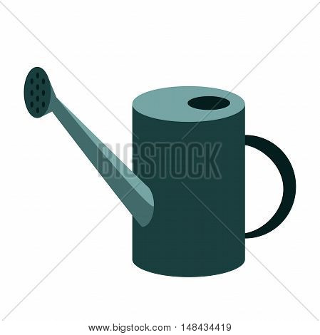 metal garden watering can isolated on white background. Garden tools watering can vector illustration.