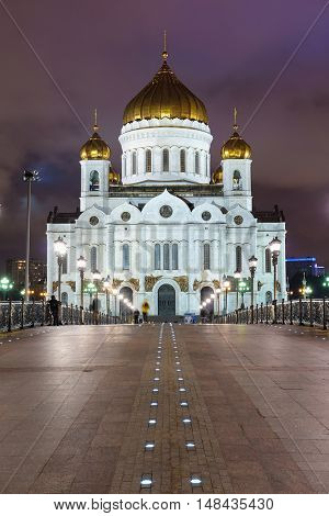Night view of the Christ the Savior Cathedral in Moscow