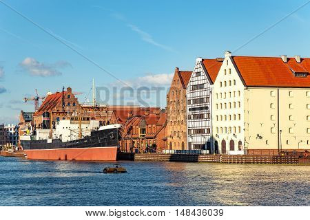 View over the Motlawa River on Granary Island in Gdansk Poland.