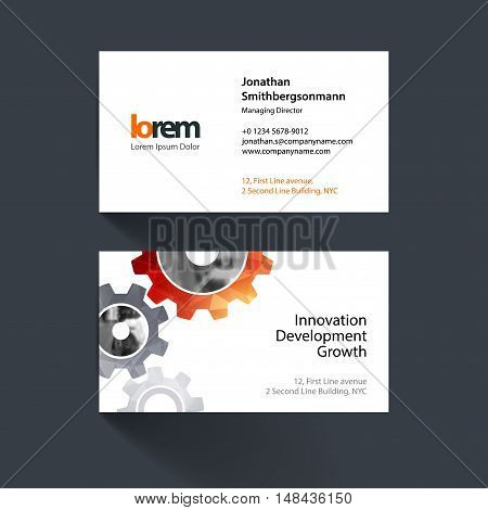 Vector business card template with red gear and polygonal background for engineering, construction and hi-tech. Simple and clean design. Creative corporate identity layout.