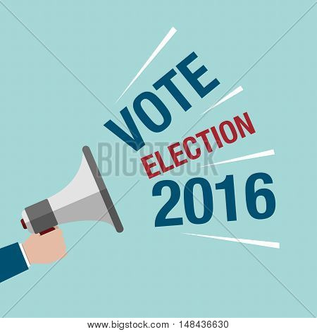 Usa Presidential Election Campaign. Hand Holding A Megaphone With Text Vote Election 2016.
