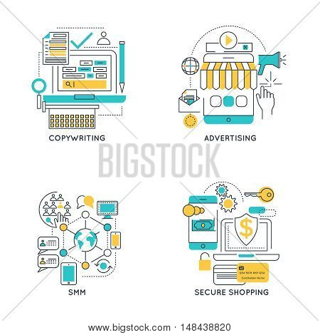 Digital marketing linear compositions with copywriting and advertising social media and secure shopping isolated vector illustration