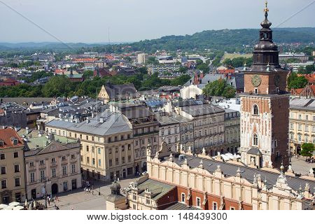 Aerial view of the Gothic tower of the former City Hall, a monument of architecture of the XIV century and Main Market Square of Krakow. Poland.