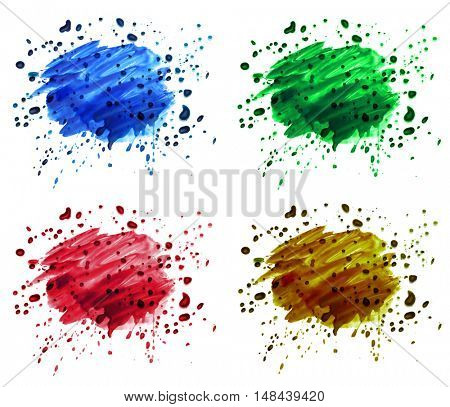 set of abstract watercolor blot splash