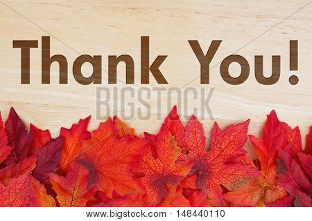 Thank You Message Some fall leaves on weathered wood with text Thank You