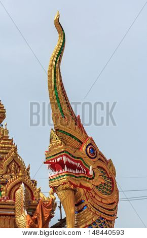 The Beautiful Naga statue dragon of background.
