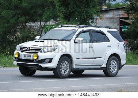 CHIANGMAI THAILAND -AUGUST 18 2016: Private suv car Toyota Fortuner. On road no.1001 8 km from Chiangmai city.