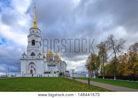 Autumn cloudy day. Uspensky Cathedral in Vladimir, Russia.