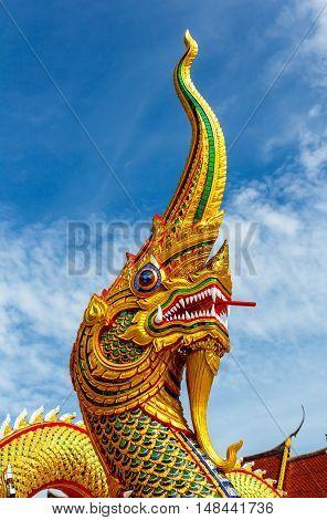 The Naga statue on blue sky background.