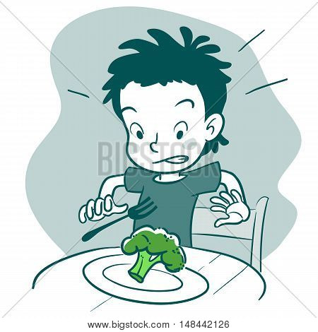 Vector monochrome hand drawn cartoon character illustration of a boy sitting at table with a plate of broccoli looking disgusted. Picky eater healthy food and parenting concept design element.