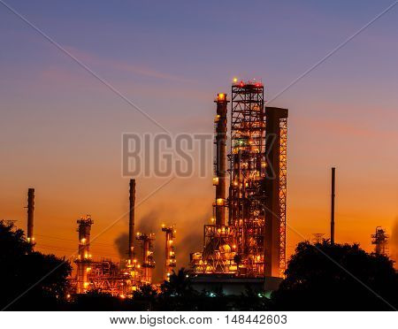 The light oil refinery beautiful dawn industry area in Thailand.