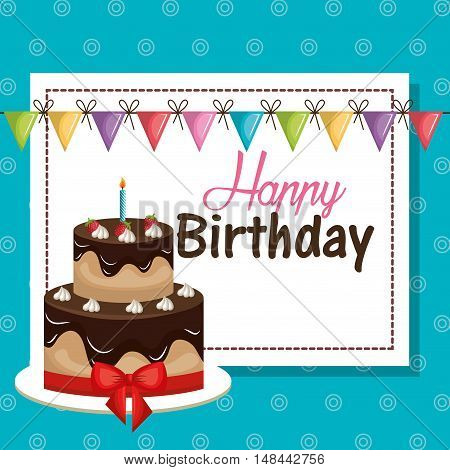 card birthday and bunting flags graphic vector illustration eps 10