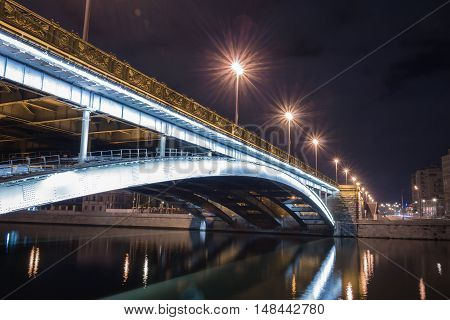 Bridge over the river, night lights with long exposure