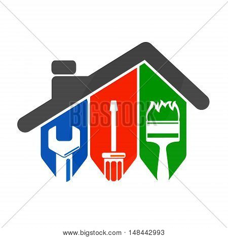 Repair of home with a tool for business symbol