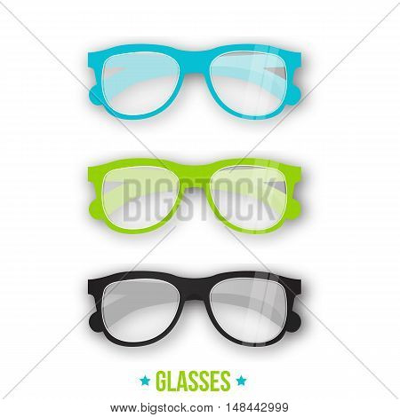 Office style glasses in different styles. Hipster glasses for your branding designs