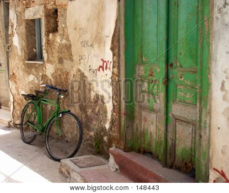 Grüne Motorrad