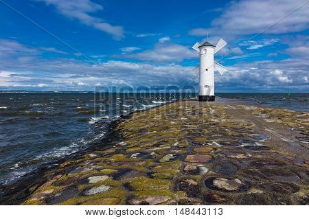 The mole in Swinemuende on the island Usedom in Poland.