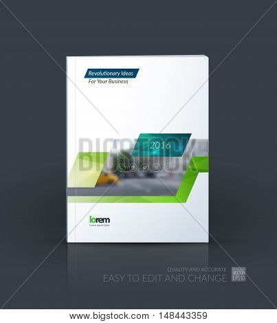 Brochure template layout, cover design annual report, magazine, flyer, leaflet in A4 with blue green dynamic rectangle, triangles with overlap effect for business and technology. Creative artwork.