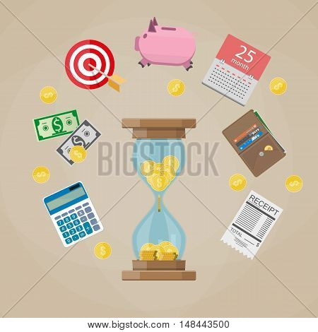 Time is Money concept. Hourglass with coins, calendar, piggy bank, calculator, money. vector illustration in flat style