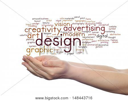 Concept conceptual creativity art graphic design visual word cloud in hand  isolated on background