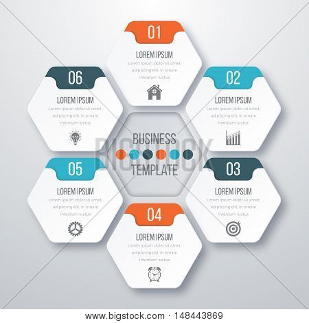 Vector illustration infographics six options. Stock vector
