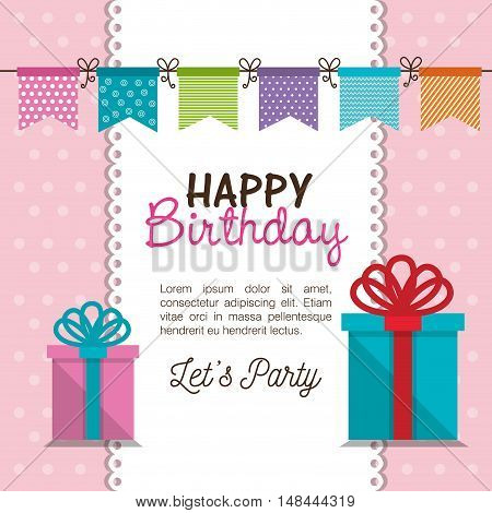 card gift bunting party birthday graphic vector illustration eps 10