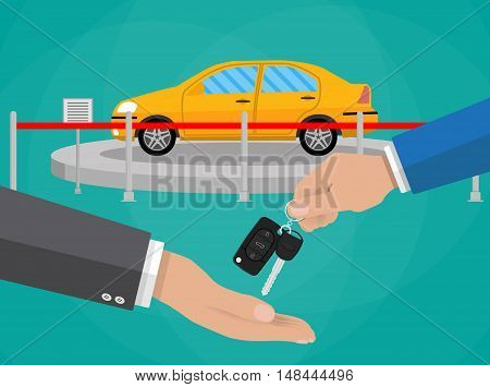hand gives car keys to another hand. buy, rental or lease a car. Exhibition Pavilion, showroom or dealership with yellow car, vector illustration in flat style.