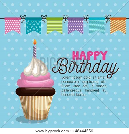 birthday card cupcake garland party vector illustration eps 10