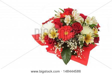 Floral arrangement with roses and chrysanthemums on white background
