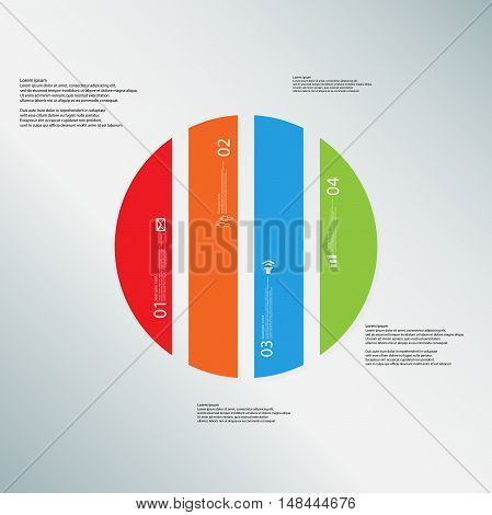 Circle Illustration Template Consists Of Four Color Parts On Light-blue Background