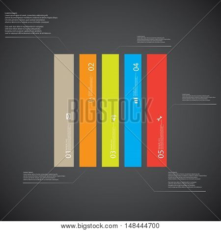 Rectangle Illustration Template Consists Of Five Color Parts On Dark Background