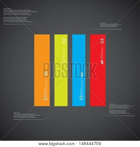 Rectangle Illustration Template Consists Of Four Color Parts On Dark Background