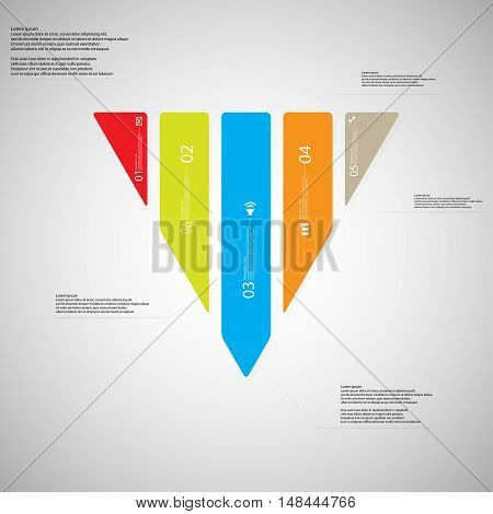Triangle Illustration Template Consists Of Five Color Parts On Light Background