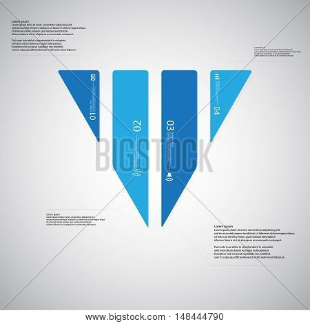 Triangle Illustration Template Consists Of Four Blue Parts On Light Background