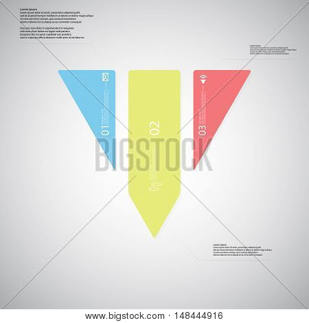 Triangle Illustration Template Consists Of Three Color Parts On Light Background