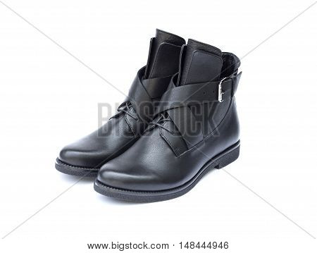 Pair of black female shoes isolated on white background with clipping path