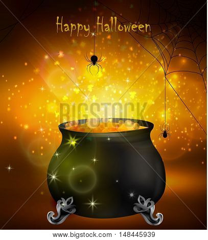 Halloween witches cauldron with yellow potion and spiders on dark background, illustration.