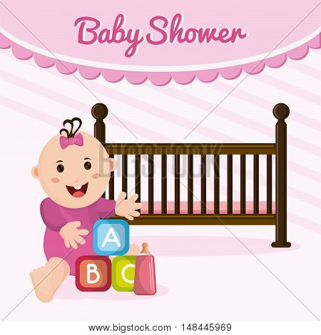 Baby girl cartoon and cradle. Baby shower and childhood theme. Colorful design. Vector illustration