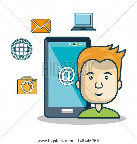 cartoon guy smartphone icon media graphic vector illustration eps 10