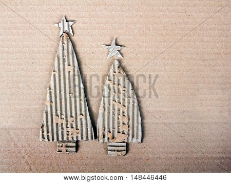 Closeup of a Christmas background with cardboard christmas tree