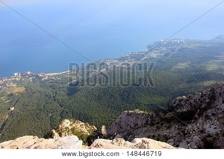 beautiful panoramic view from top of crimean mountain Ai-Petri on Black sea coast Crimea