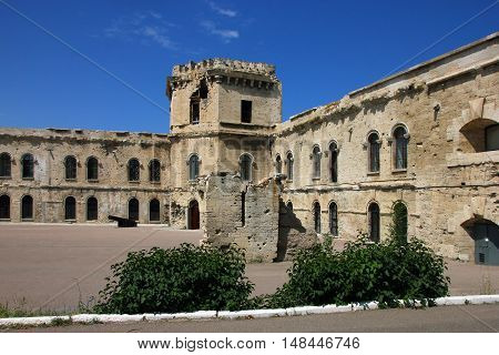 courtyard of old coastal fortress in Sevastopol in Crimea