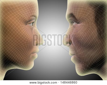 Concept or conceptual 3D illustration wireframe or mesh human male and female head glowing on gray background