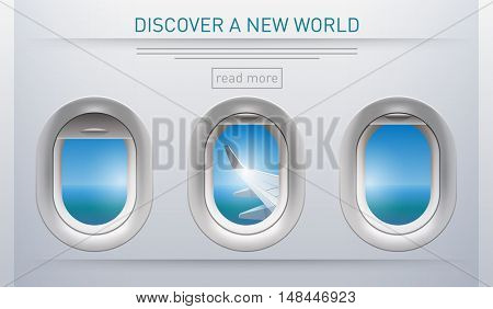 Illustration of a plane portholes usable for banners, brochures in tourism theme