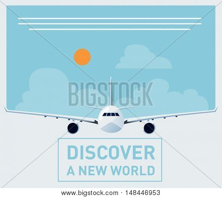 Tourism illustration template for brochures, banners, poster designs with a plane front