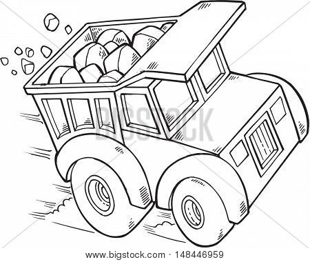 Doodle Dump Truck Vector Illustration Art