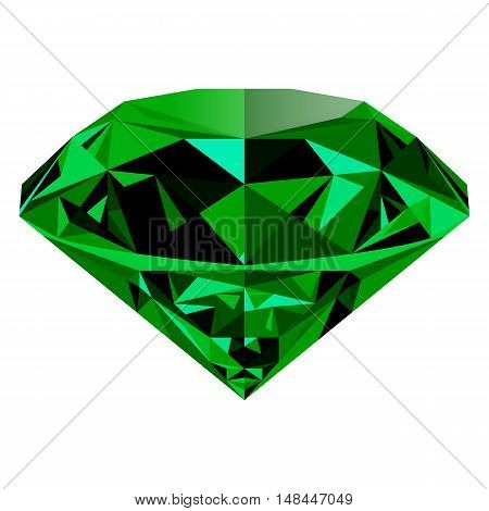Realistic shining green emerald jewel isolated on white background. Colorful gemstone that can be used as part of logo icon web decor or other design.