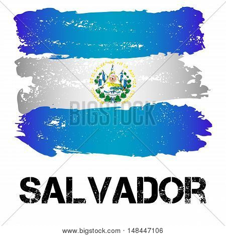 Flag of Salvador from brush strokes in grunge style isolated on white background. Country in Central Latin America. Vector illustration