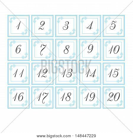 Illustration. Decorative number cards for wedding and holiday